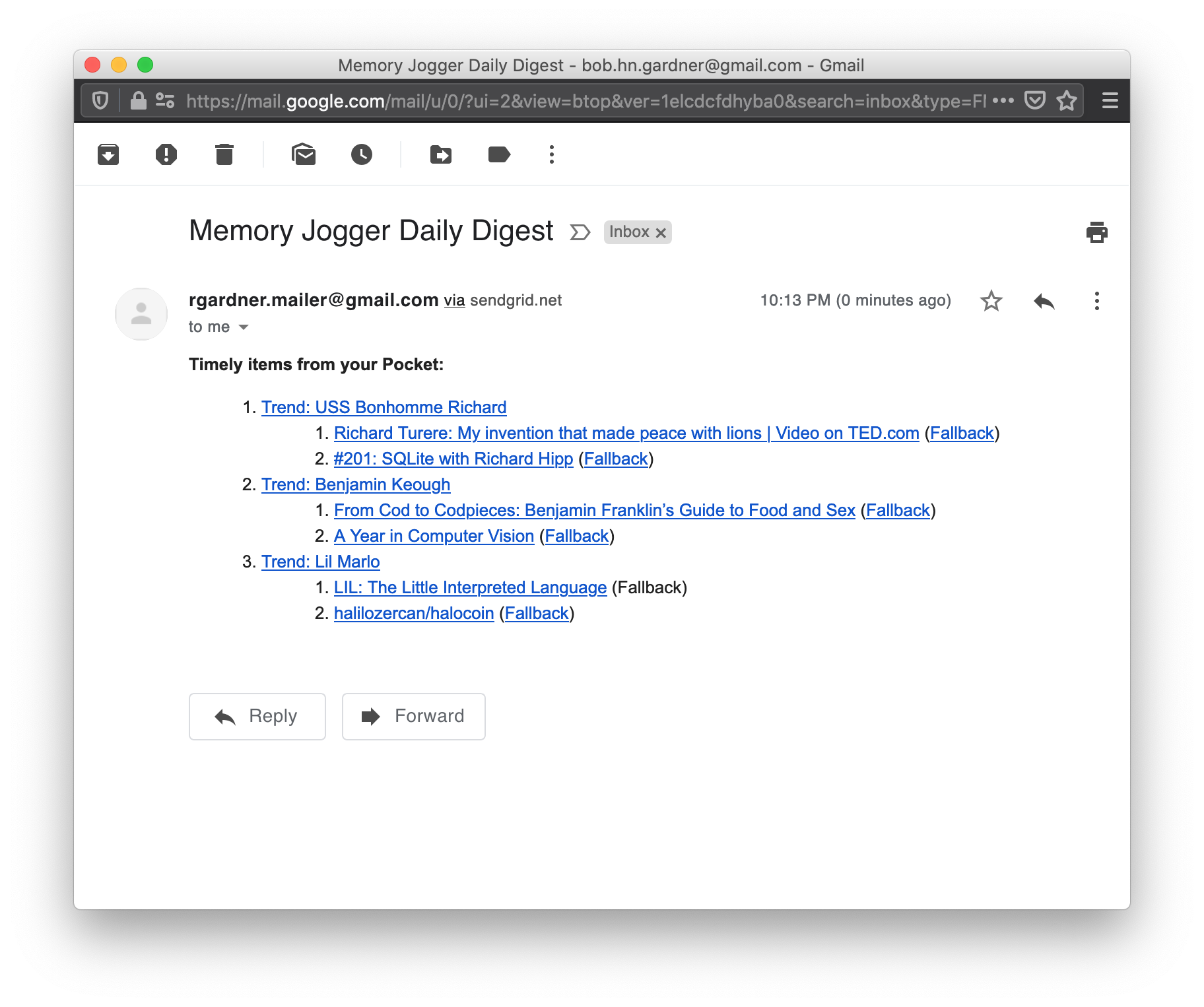 Memory Jogger Sample Email Digest